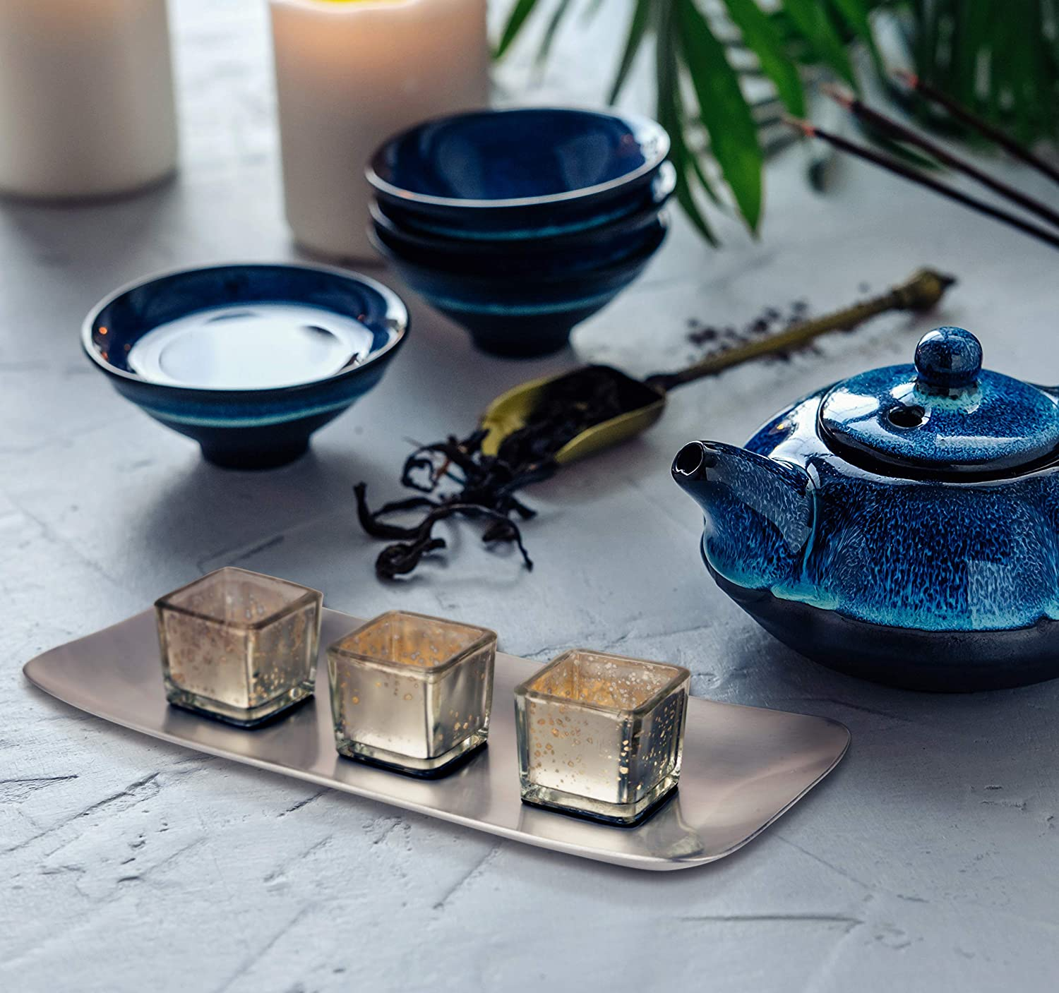 Home Decor Dining Table Accessories Inyo Home Decor Candlescape Set For Living Room Zen Bathroom Decorations As Towel Tray Coffee Table Decor Candle Holder Centerpieces For Dining Room Table Home Kitchen