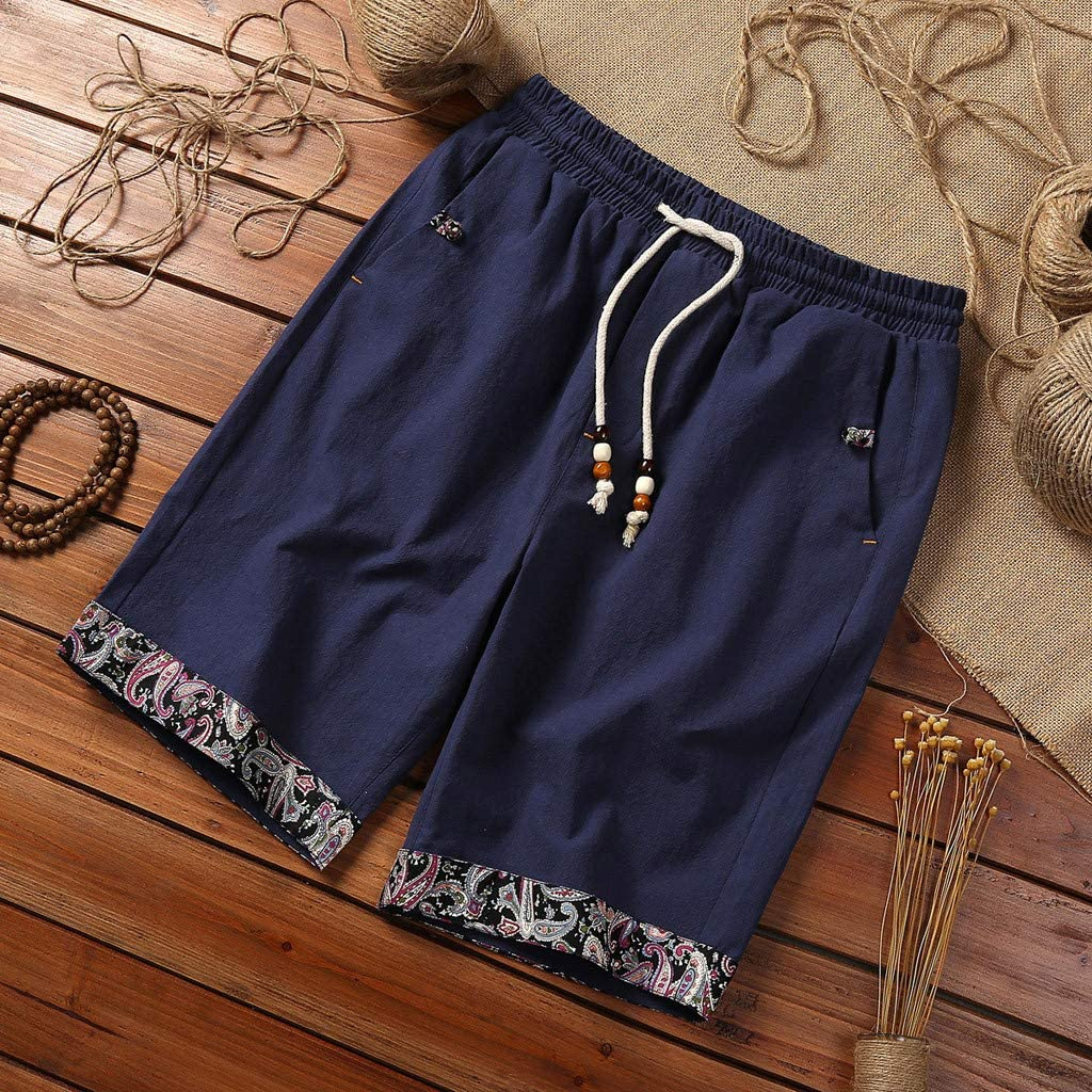 Mens Linen Casual Custom Fit Short Drawstring Printed Hem Summer Beach Shorts with Elastic Waist and Pockets