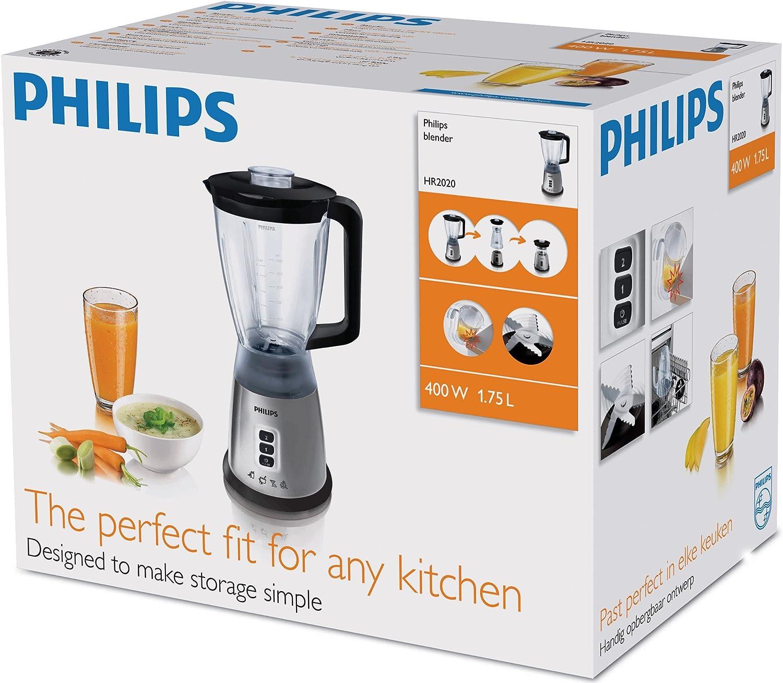 Philips HR2020/50 - Licuadora multifunción, 400 W, color negro ...