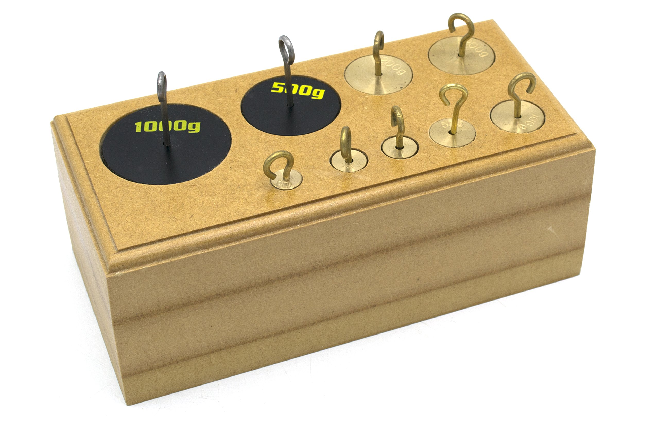 Eisco Labs Set of 9 Brass Hooked Weights - 10-1000g in Wooden Block by EISCO