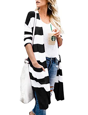 Tutorutor Womens Open Front Cardigan Sweater Long Sleeve Lightweight  Striped Duster with Pockets at Amazon Women s Clothing store  c074651aa