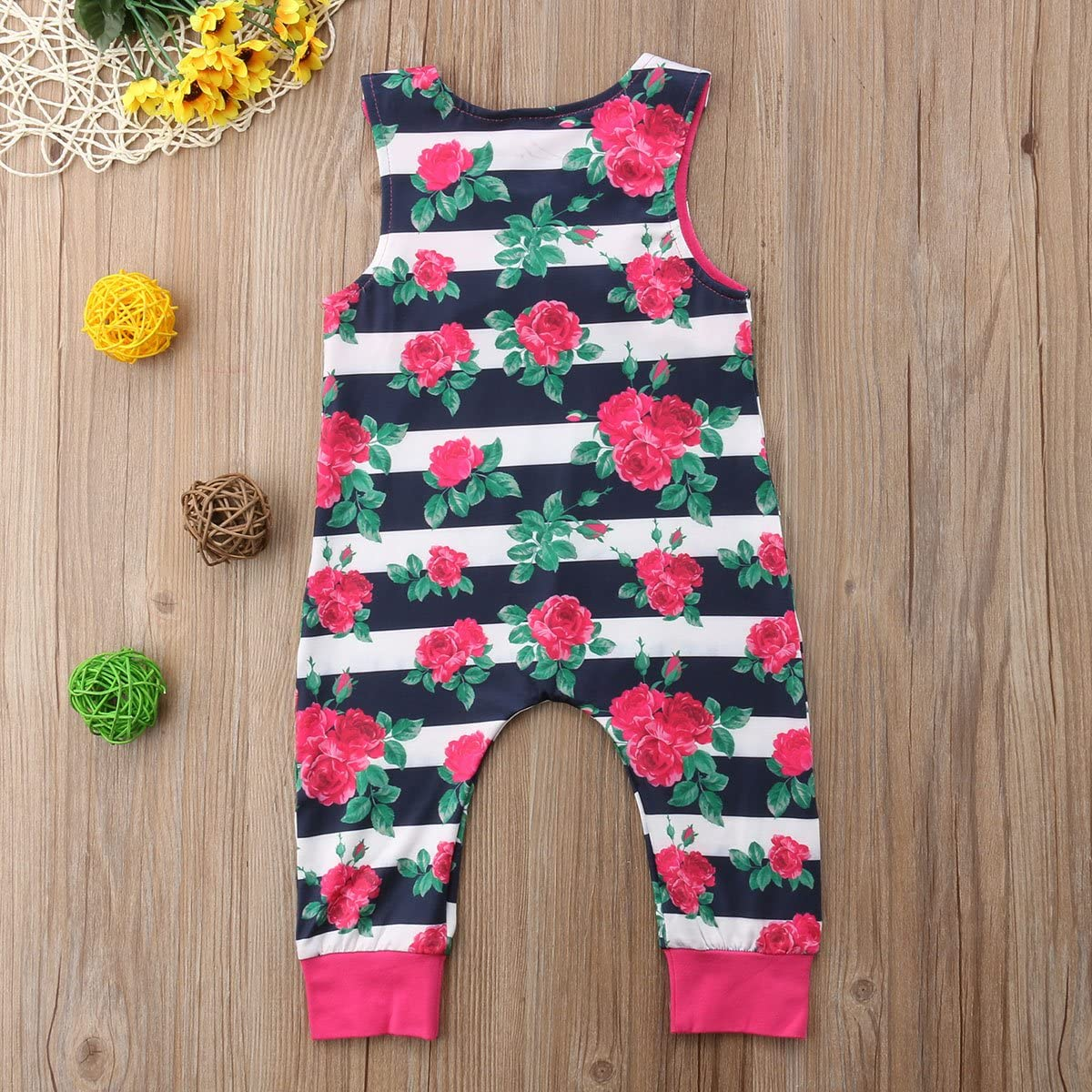 Toddler Baby Girls Floral Sleeveless One-Pieces Jumpsuit Summer Romper Outfit