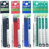 Pilot Gel Ink Refills for FriXion Ball 4 Gel Ink Multi Pen, 0.5mm, Black/Blue/Red/Green Ink, 6 Packs 12 refills total Value Set