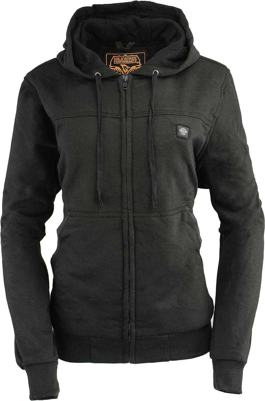 Milwaukee Leather Women's Zipper Front Heated Hoodie (Black, M)
