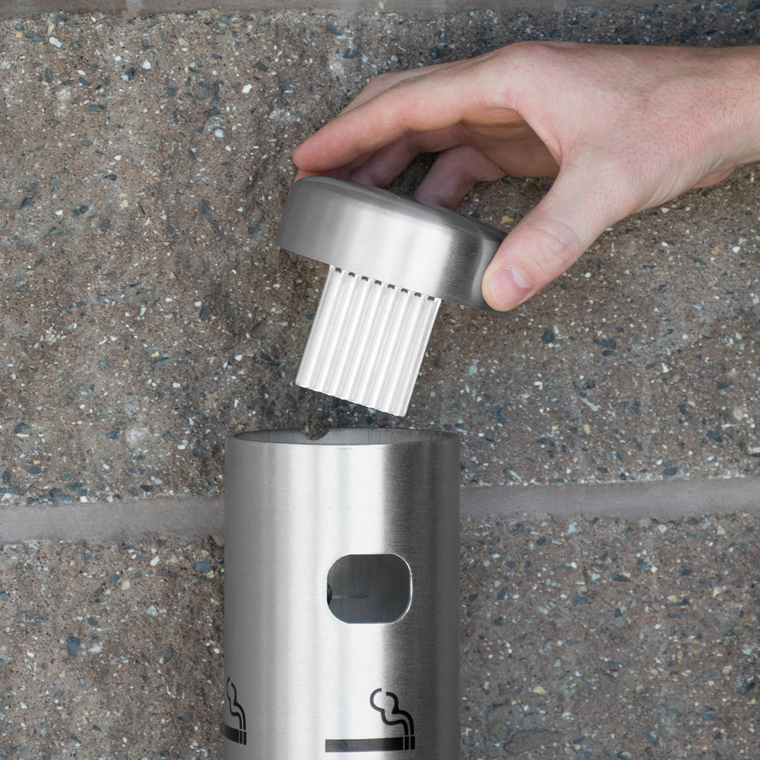 Wall Mounted Cigarette Receptacle Color Black