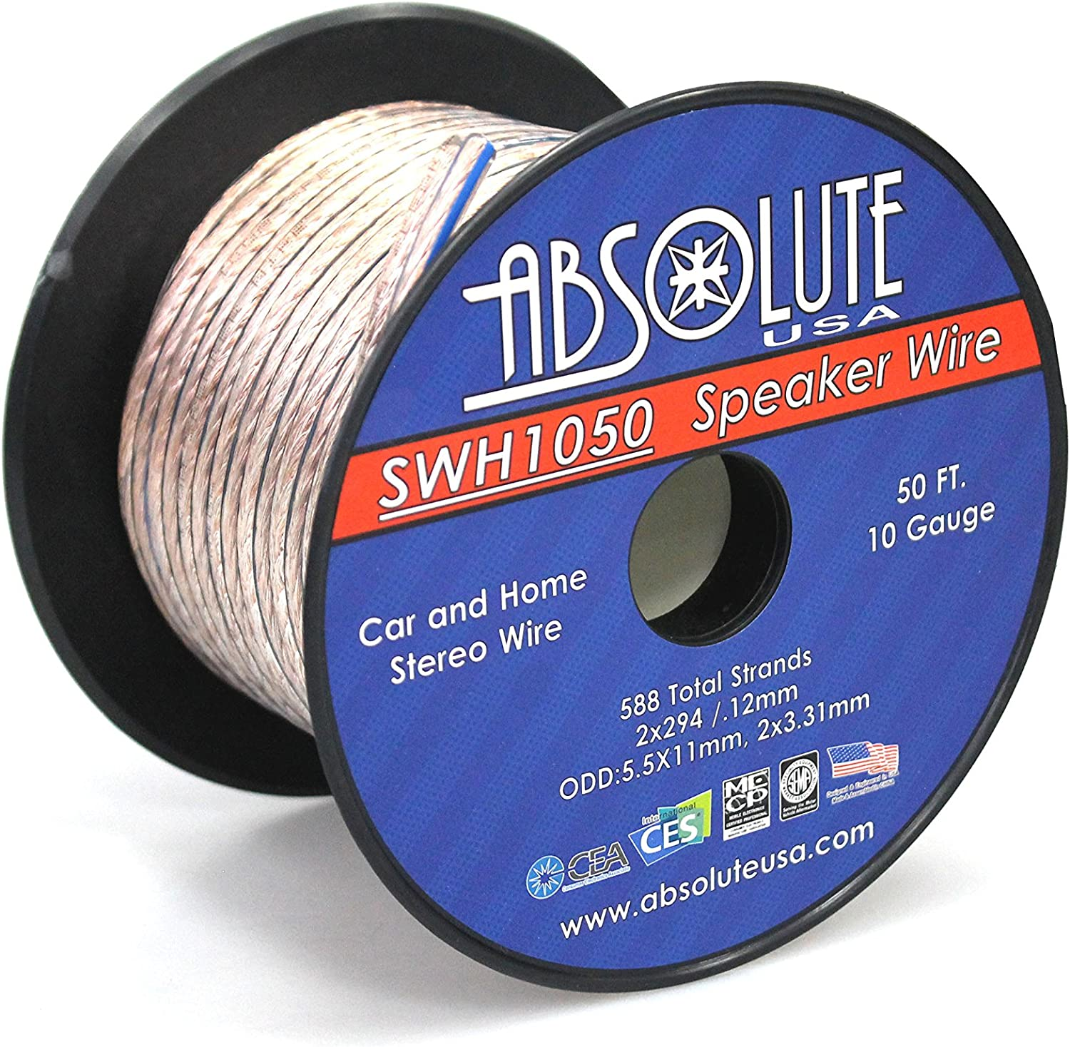 Absolute USA SWH1050 10 Gauge Car Home Audio Speaker Wire Cable Spool 50