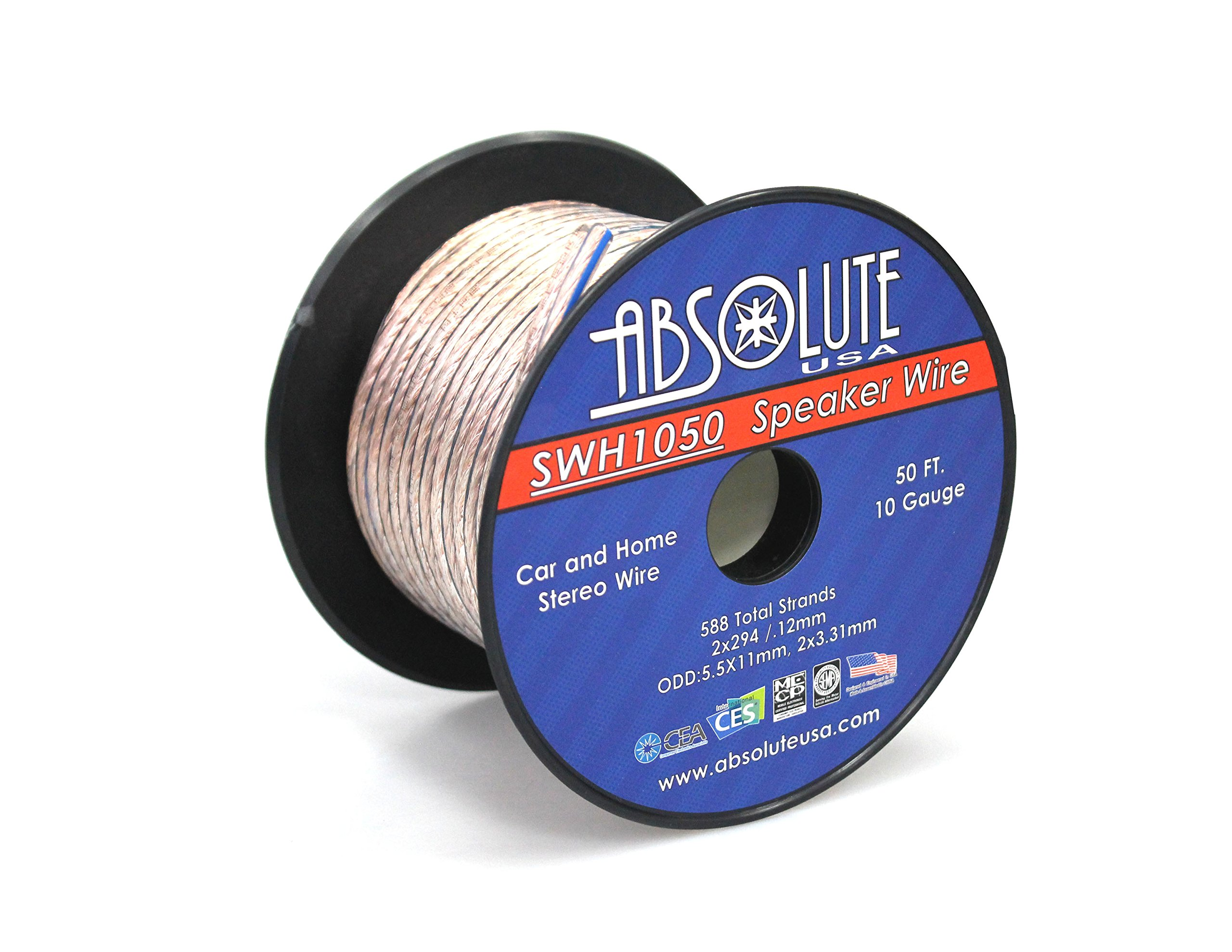 Absolute USA SWH1050 10 Gauge Car Home Audio Speaker Wire Cable Spool 50'