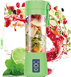 Portable Personal Blender For Shakes and Smoothies, Mini Blender Cup USB Rechargeable Small Blender Shakes Travel 380ml & Six 3D Blades For Great Mixing,Green