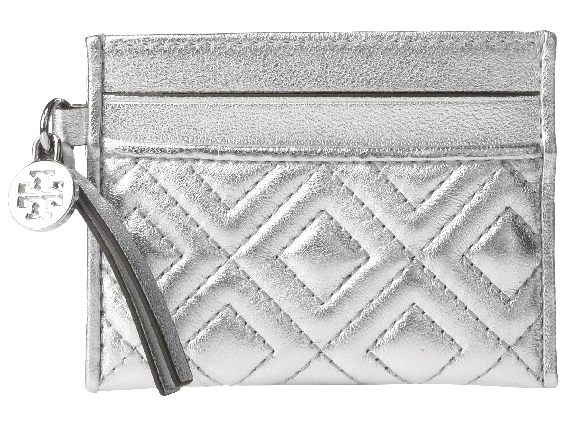 Tory Burch Women's Fleming Metallic Slim Card Case, Silver, One Size by Tory Burch