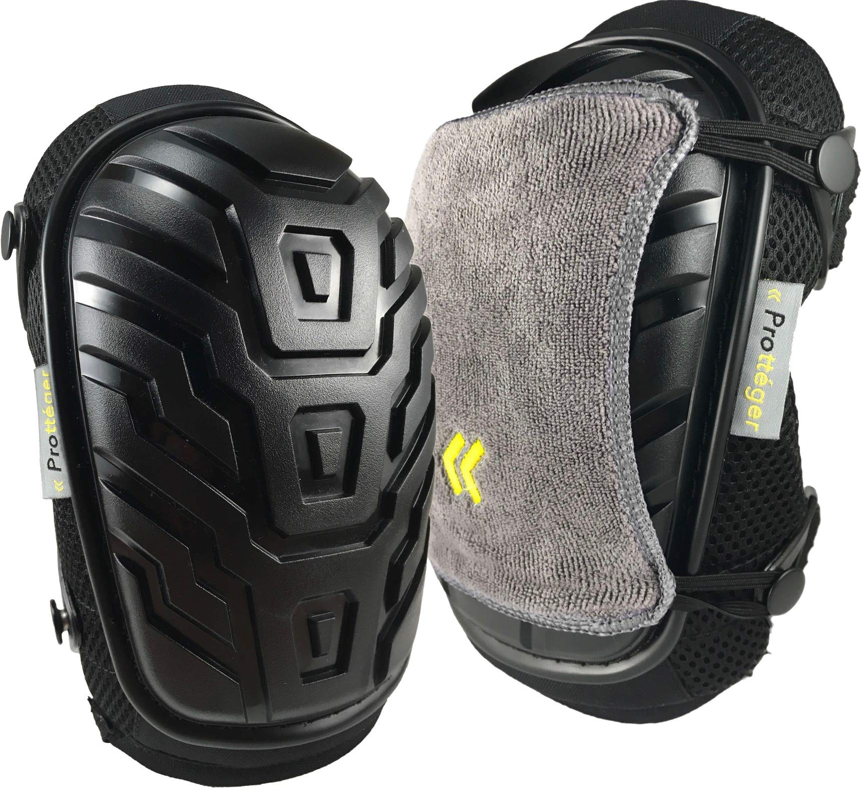 Knee Pads for Work by Protteger - Thickest Available Foam Padding with Gel Cushion - Double Adjustable No-Slip Straps - Bonus Microfiber Covers - Great for Construction, Gardening, Flooring, Cleaning by Prottéger