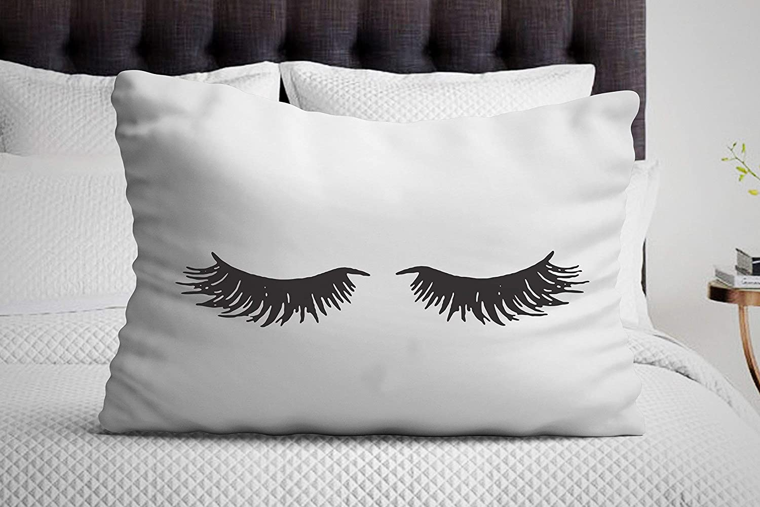 sleeping eyelash pillow case bedroom decor gift for her funny gifts decorative pillow covers single pillowcase unique missing gifts
