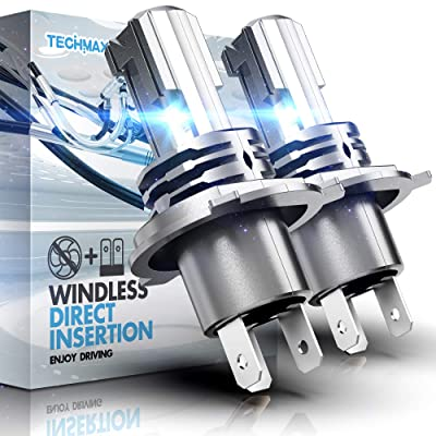 TECHMAX H4 LED Headlight Bulb,Windless Direct Insertion 50W 6500K Xenon White CREE Chips 9003 Hi Lo of 2: Automotive