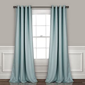 """Lush Decor Curtains-Grommet Panel with with Insulated Blackout Lining, Room Darkening Window Set (Pair), 120"""" L, Blue"""