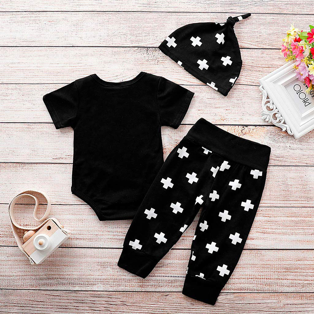 YONGPIN Boys Clothing Sets Kids Clothes Set 100/% Cotton Newborn Baby Baby Short Sleeve Letter Trousers Trousers hat 3 Piece Set