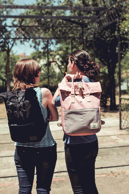 Rolltop-Rucksack-stylisch-Uni-Laptop-rosa-schwarz-grau