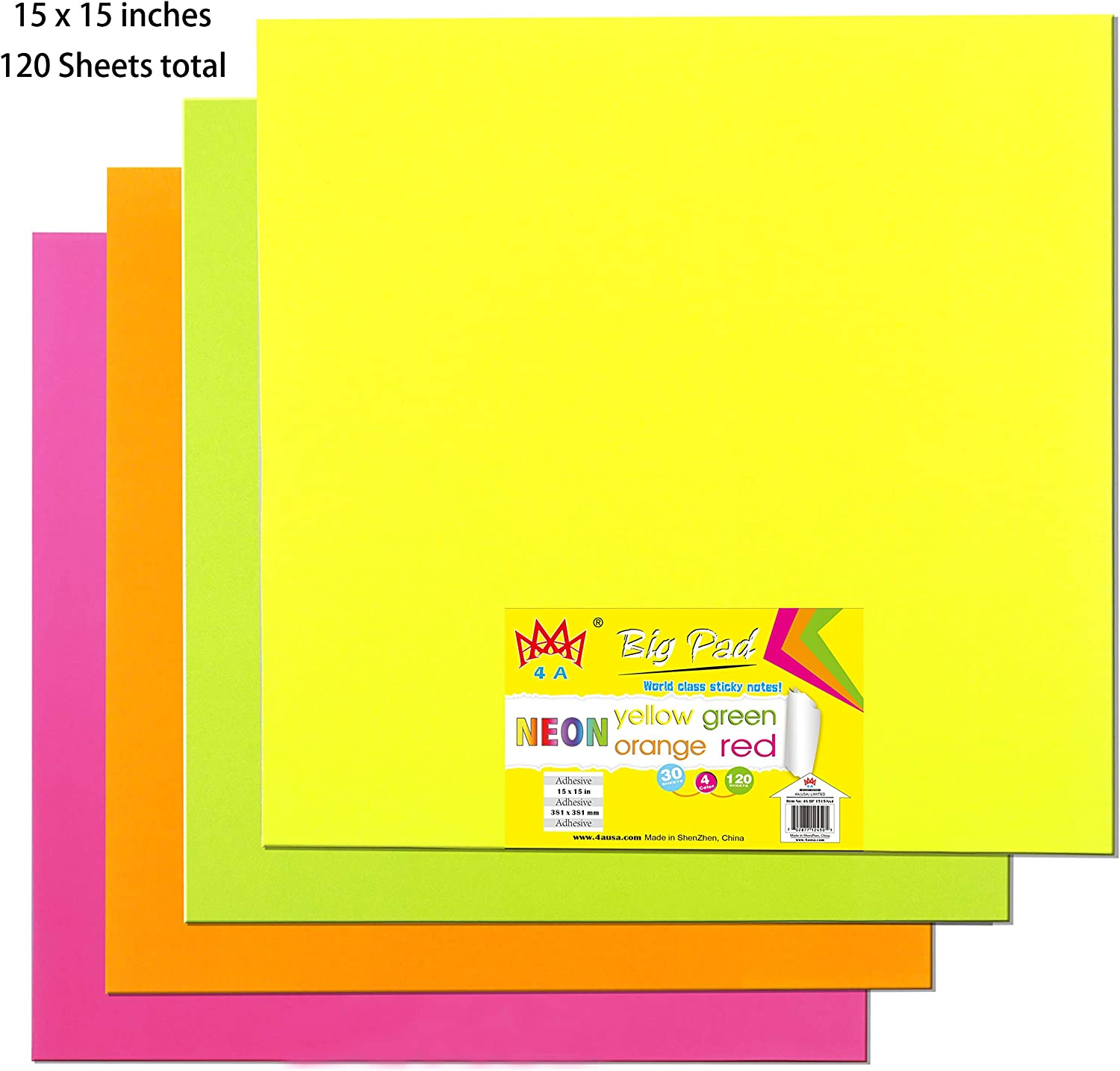 4A Sticky Big Pad,11 x 11 in,Large Size,Neon Yellow,Orange,Red and Green,Self-Stick Notes,30 Sheets//Pad,4 Pad//Pack,4A BP 1111-Nx4