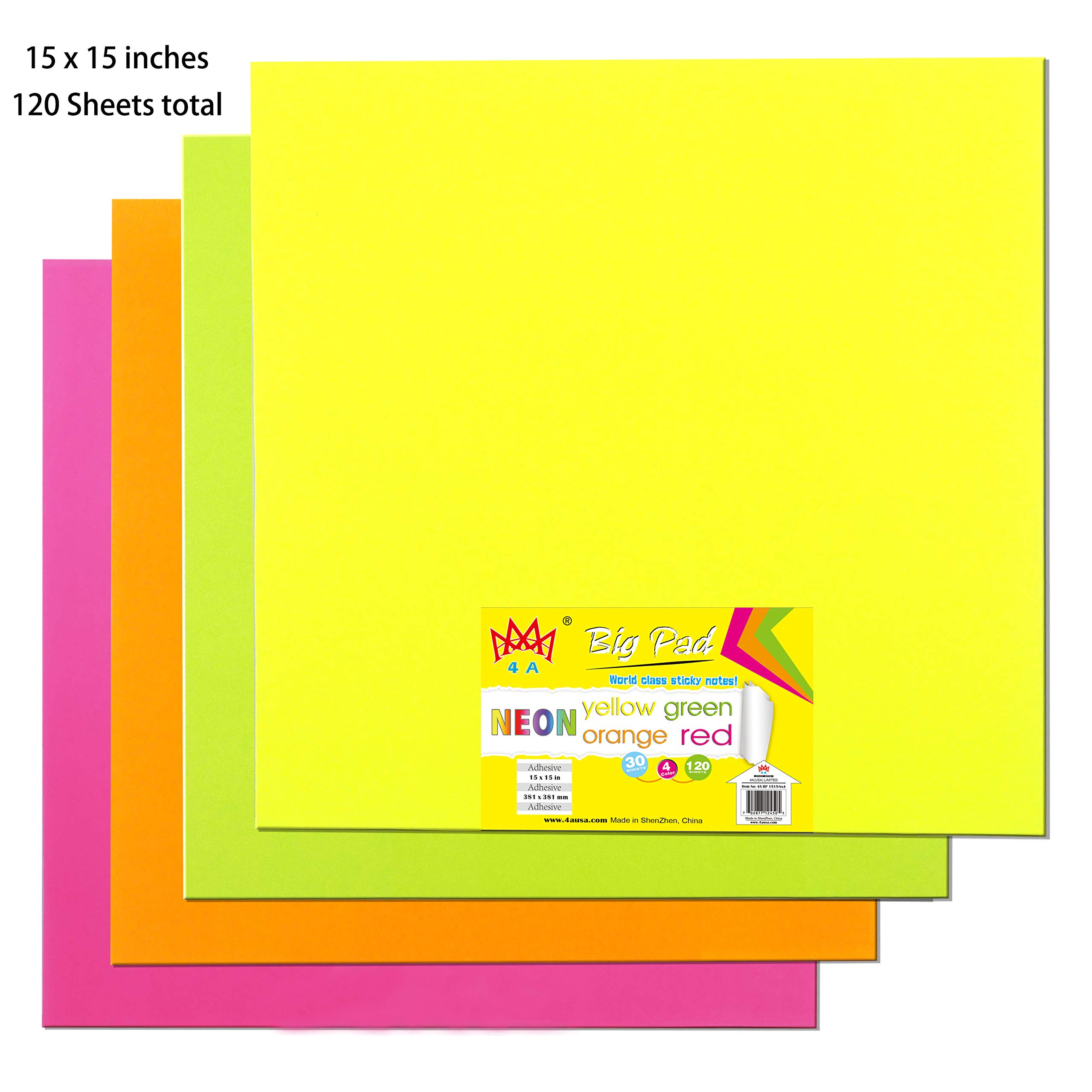 4A Sticky Big Pad,15 x 15 in,Large Size,Neon Yellow,Orange,Red and Green,Self-Stick Notes,30 Sheets/Pad,4 Pads/Pack,4A BP 1515-Nx4