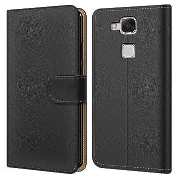Conie BW9367 Basic Wallet Kompatibel mit Huawei Mate 7, Booklet PU Leder Hülle Tasche mit Kartenfächer und Aufstellfunktion f
