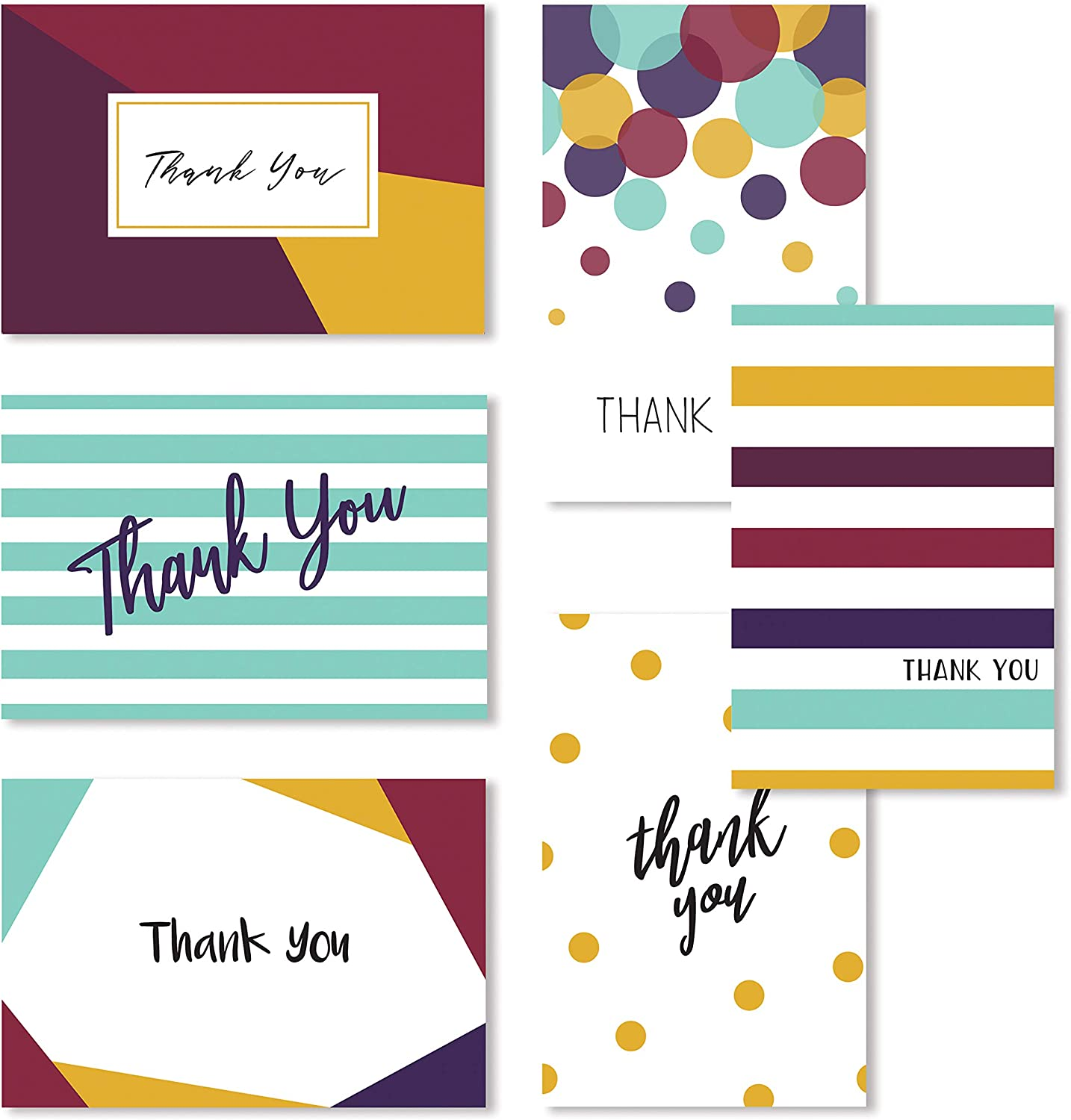 Cavepop 36 Pack Card Box Assortment of Thank You Cards, Blank Cards for a Greeting, Notes, Gifts with Envelopes for Wedding, Baby Shower, Bridal Shower