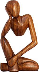 "G6 Collection 12"" Wooden Handmade Abstract Sculpture Statue Handcrafted - Thinking Man - Gift Art Decorative Home Decor Figurine Accent Decoration Artwork Hand Carved (Brown)"