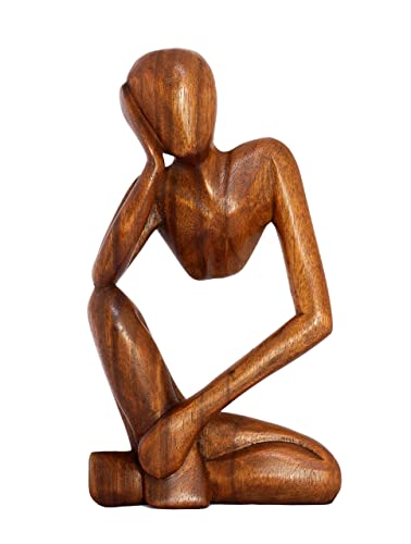 G6 Collection 12 Wooden Handmade Abstract Sculpture Statue Handcrafted – Thinking Man – Gift Art Decorative Home Decor Figurine Accent Decoration Artwork Hand Carved Brown