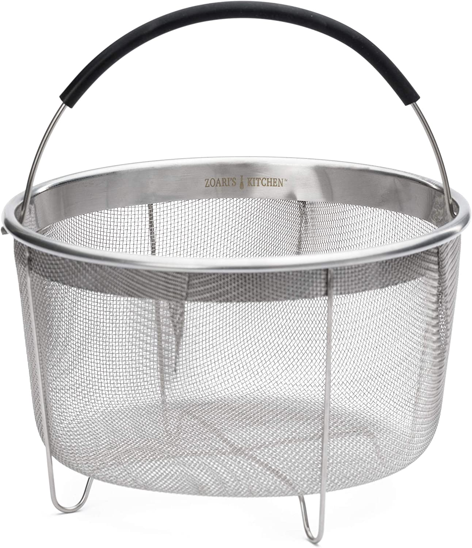 Zoari's Kitchen Steamer Basket 6 Qt for Instant Pot, Compatible with Ninja Foodi and pressure cookers 6 quart, 8 Quart Egg Basket Steamer and Strainer with Silicone Handle (Steamer Basket 6qt/8qt)