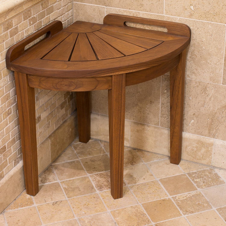 Amazon.com: Belham Living Teak Corner Shower Stool: Home & Kitchen