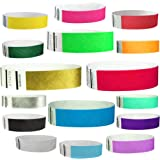 "Goldistock 3/4"" Tyvek Wristbands The Ultimate Variety Pack 16 Colors - 160 Ct.- Green, Blue, Red, Orange, Yellow, Pink, Purple, Gold , Silver, Aqua, White, Black, Evergreen, Berry, Sky Blue, Sunrise"