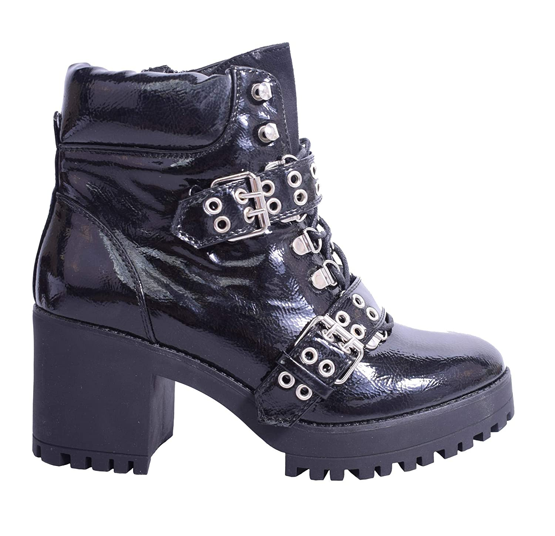 classic styles huge discount sale online Womens Ladies Chunky Heel Biker Ankle Boots Black Faux ...