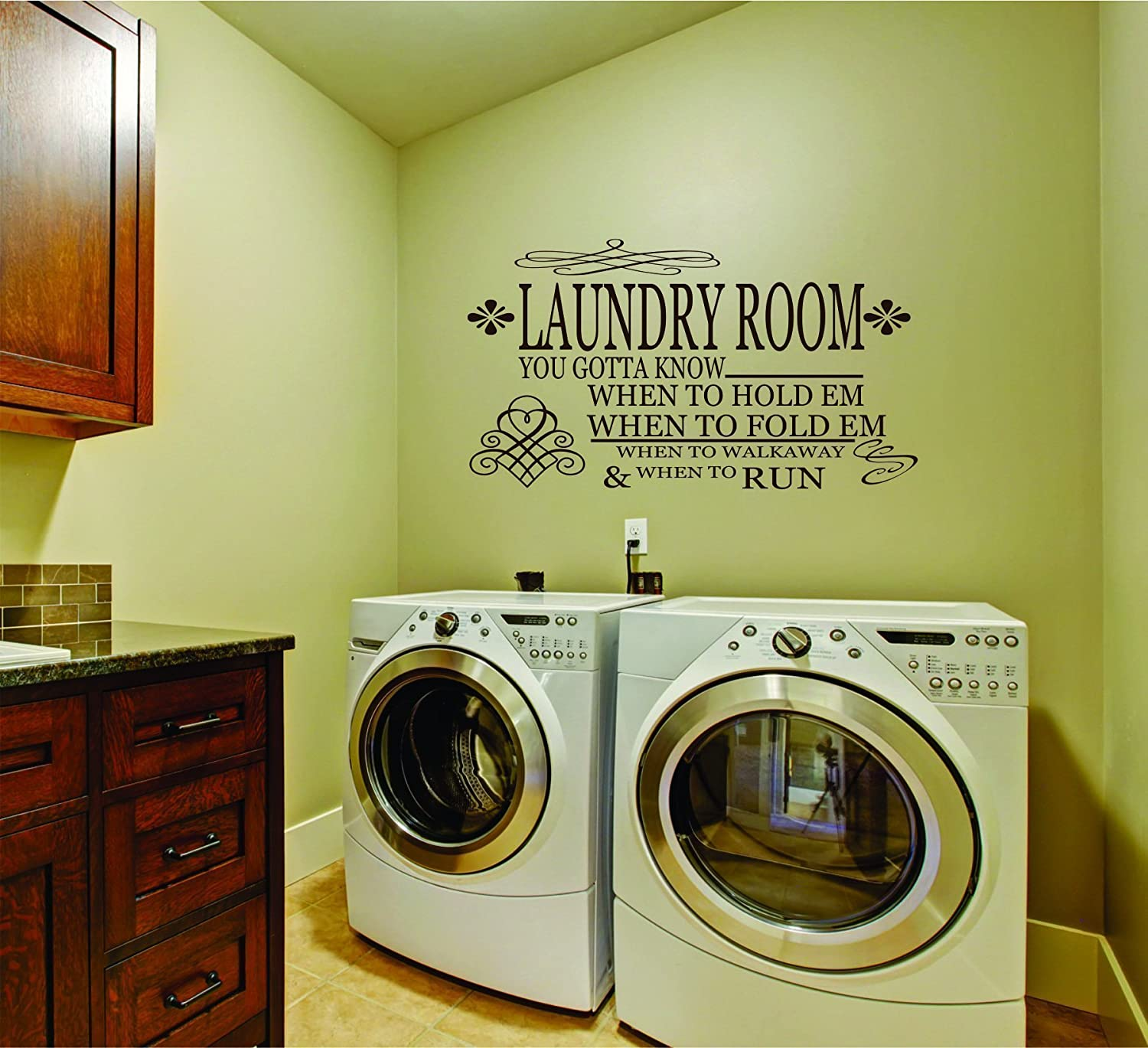Amazon.com: Laundry Room Decal - Gambler Laundry Wall Decal - SF ...