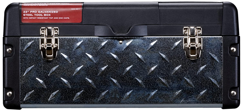 Galvanized Steel Tread Plate Stack-On DXG-22-1 22-Inch Deluxe Professional Steel//Plastic Tool Box Black