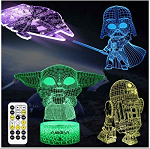 AOEVI Star Wars Gifts, Star Wars Toys 7 Colors Changing 3D Night Light for Kids Room Decor with Remote & Timer, (4 Patterns) Starwars Illusion Lamp Birthday Gifts for Boys Men Brother Father Baby Fans