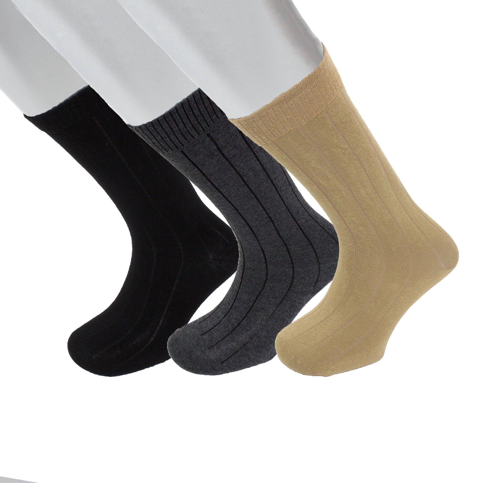 Diabetic Socks | Mens Black/Ch Grey/Khaki Mid-Calf Ribbed Assorted 3 Pack | Seamless Toe Size 10-13