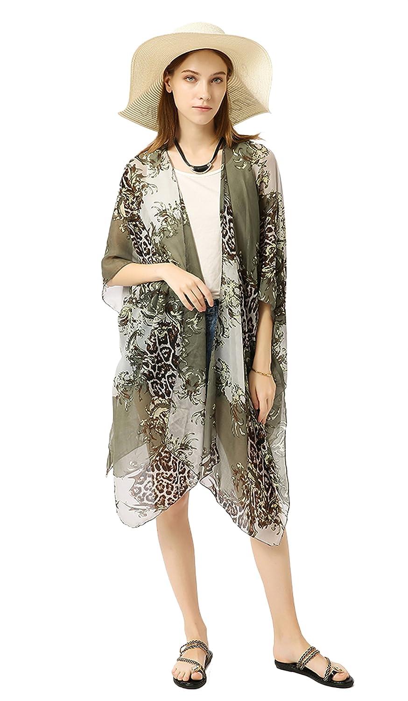 Elebrey Womens Kimono Cardigan Capes Print Sheer Chiffon Loose