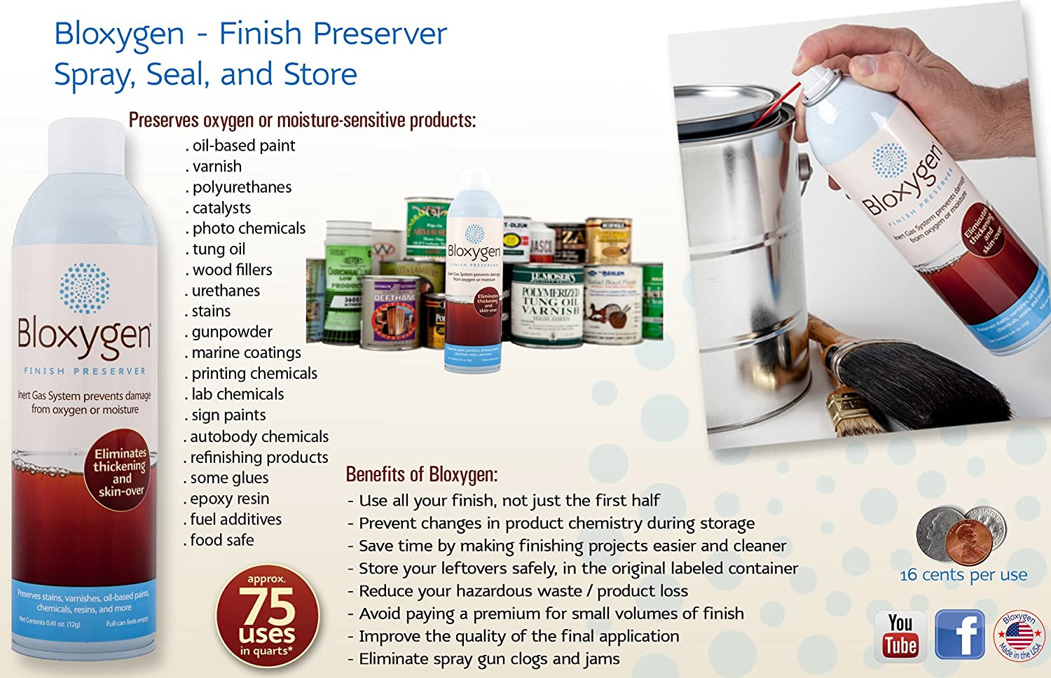 Bloxygen - Preserver Kit (Can+plow+spout)  100% Natural Inert Gas  Preservation System for Paint/Auto Chemicals/Varnish/Food & Wine  Save  Money &