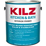 KILZ L204511 Kitchen & Bath Interior Latex Primer/Sealer/Stainblocker with Mildew-Resistant Finish, White, 1-Gallon, 1 Gallon