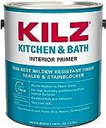 KILZ L204511 Kitchen & Bath Interior Latex Primer/Sealer/Stainblocker with Mildew-Resistant Finish,