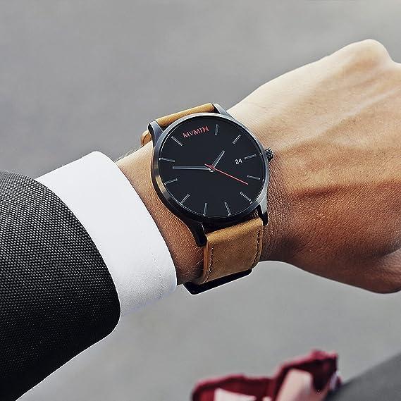 Mvmt Relojes Negro Cara con marrón Correa de Cuero Hombres del Reloj: Mvmt: Amazon.es: Relojes