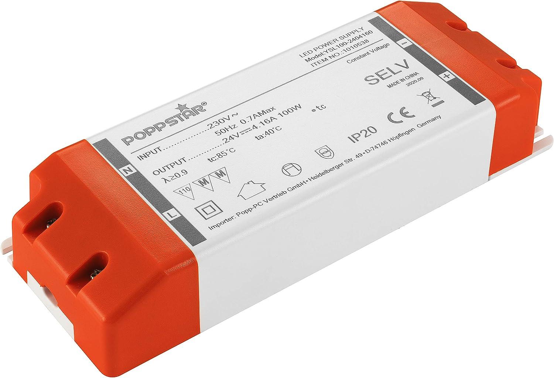 Poppstar Transformador LED 230V AC / 24 V DC 4,16A para bombillas LED de 1W hasta 100W