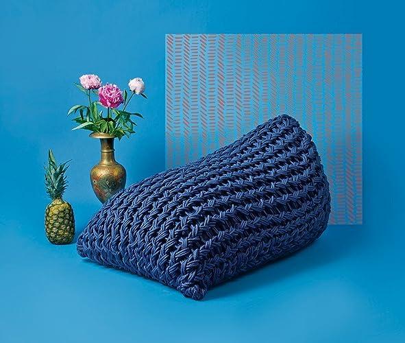 Scandinavian Style Navy Blue Knitted Beanbag Cover / Beanbag Chair / Pouf /  Modern Decor