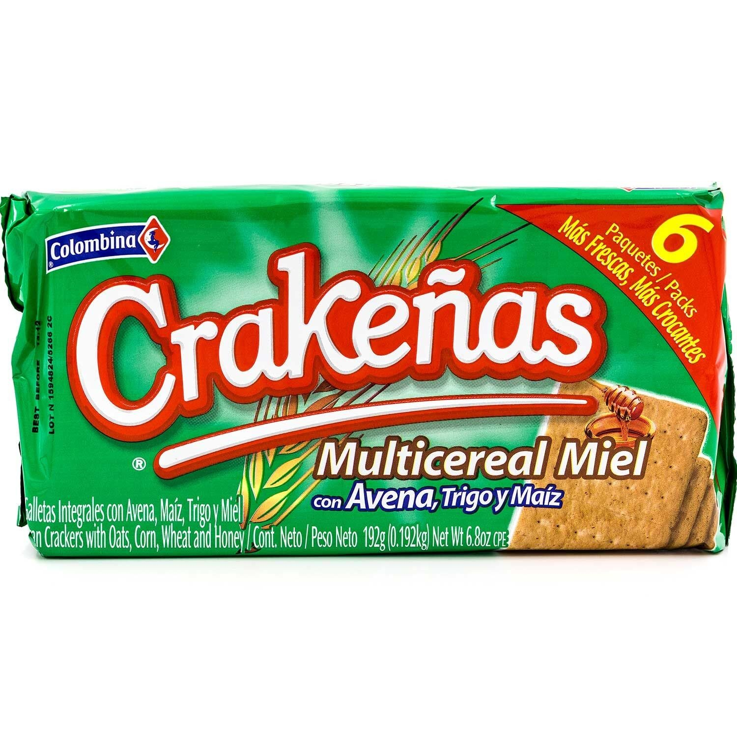 Colombina Crakenas Multi Cereal Miel, 6.8 Ounce (Pack of 12)