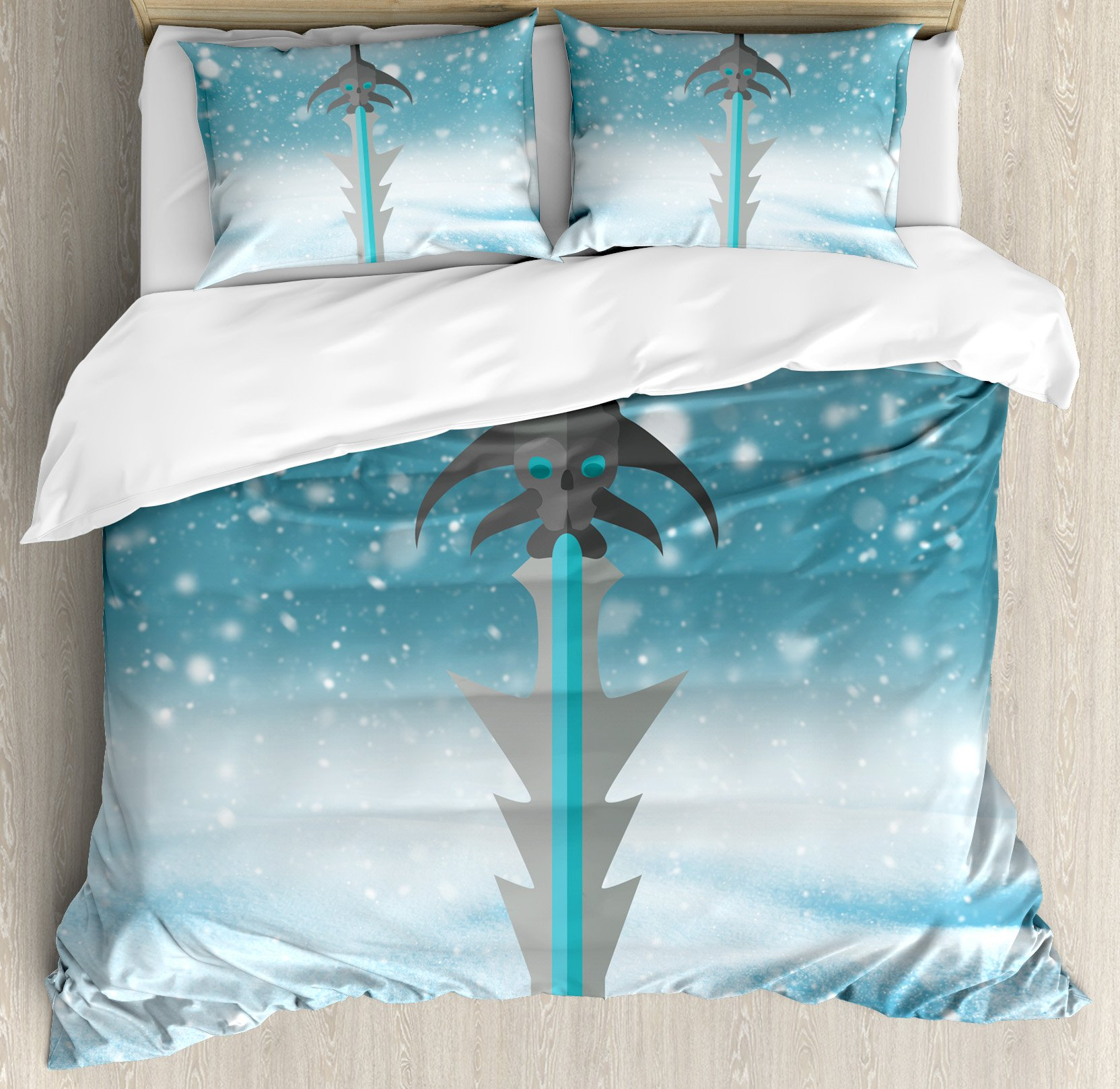 Video Game Duvet Cover Set King Size by Ambesonne, Sword with Skull Pattern Weapon Evil Being Fantasy Magical Snowy Sky, Decorative 3 Piece Bedding Set with 2 Pillow Shams, White Blue and Black