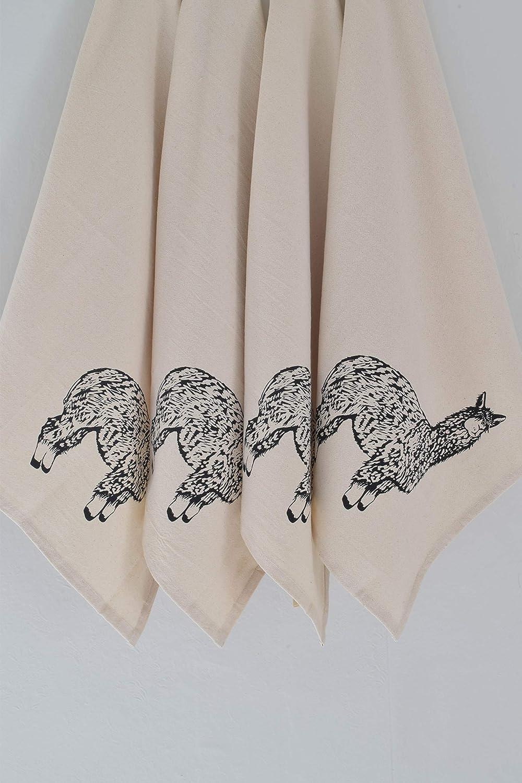 Set of 4 Organic Cotton Llama in Black Cloth Napkins