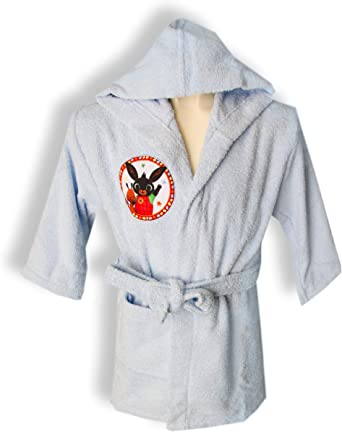 Albornoz con capucha original Bing Bunny años 2 3 4 5 100% rizo puro algodón niño niña (celeste, años 4/5): Amazon.es: Ropa y accesorios