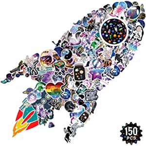 [150 PCS] Vsco Starry Sky NASA Big Waterproof Stickers for Hydro Flask, Space Explorer Universe Galaxy Astronaut Vinyl Decals Stickers for Laptop,Water Bottle,Luggage,Kids Teens Gift[No-Duplicate]
