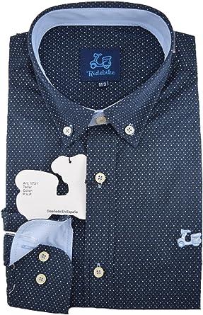 Ridebike Camisa Azul Marino con topitos Blancos Vespa | Slim fit | Diseño del puño a Juego con el Cuello: Amazon.es: Ropa y accesorios