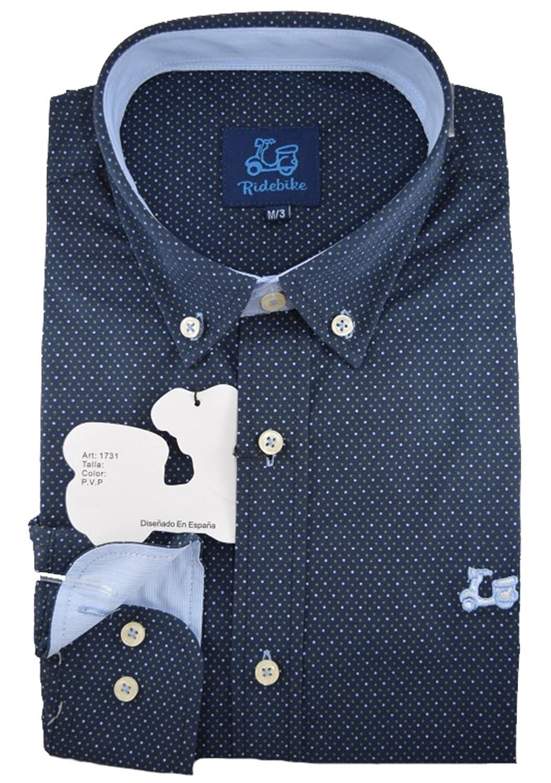 TALLA M. Ridebike Camisa Azul Marino con topitos Blancos Vespa | Slim fit | Diseño del Puño a Juego con el Cuello