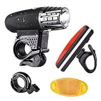 LED Fahrradlicht set, Wiederaufladbare fahrradlampenset, Fahrradlampe LED Set mit USB Wasserdichte 4 Licht-Modi, Rücklichter, Fahrradklingel, 4*Streifenlicht mit einem Reflektor