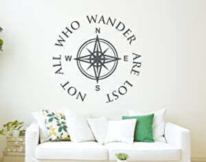All Who Wander are Not Lost Wall Decal Quote - Compass Wall Decal - Nautical Compass Wall Decor