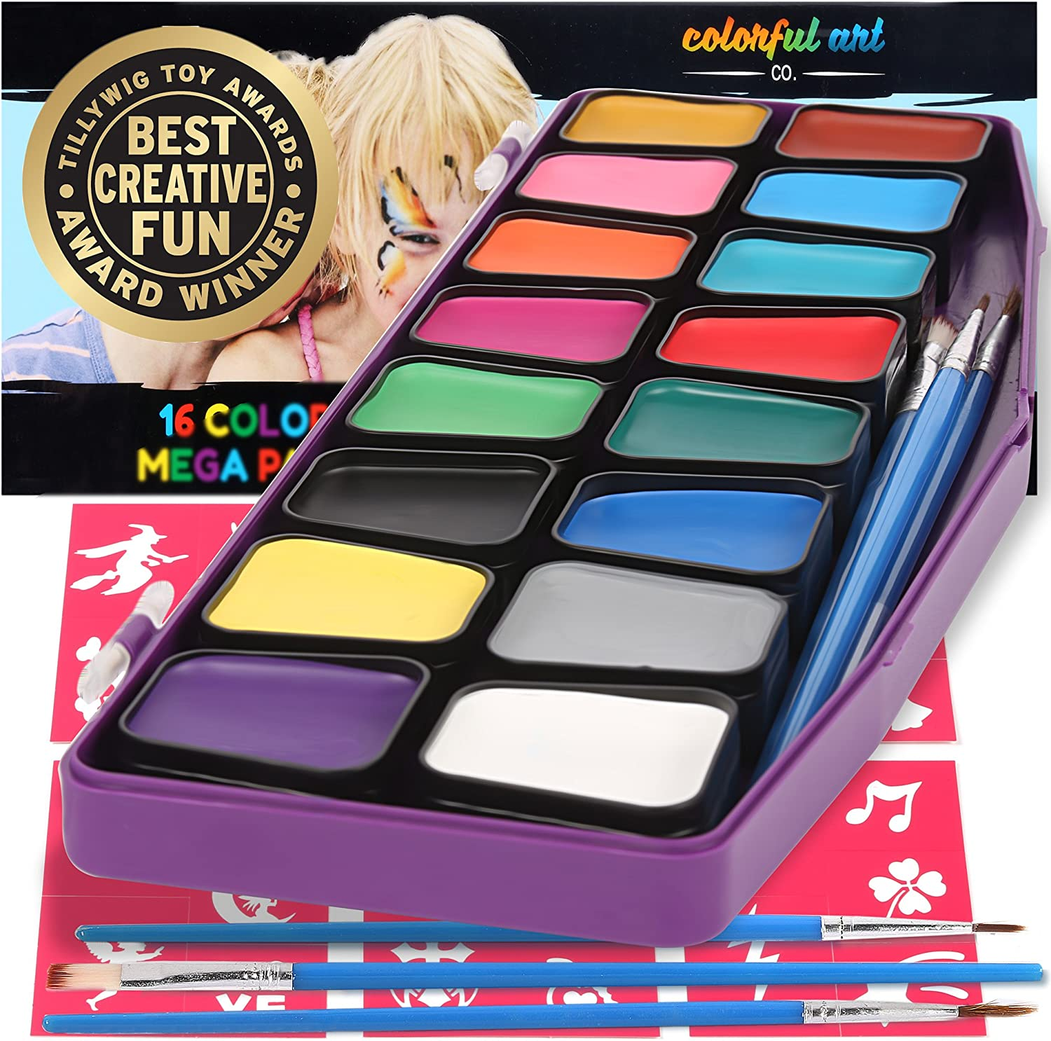 Face Paint Kit for Kids - Professional Award Winning Facepaint Kits for Sensitive Skin, 16 Large Removable Color Pots, 30 Stencils, 3 Brushes, Best Face & Body Painting Party Set and Halloween Makeup